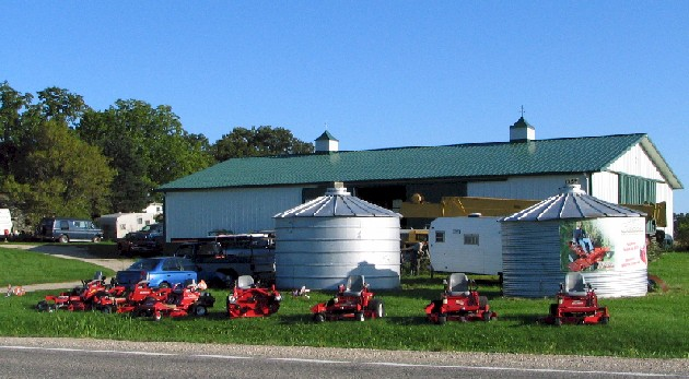 Our shop, with Country Clipper Lawn Mowers in front.
